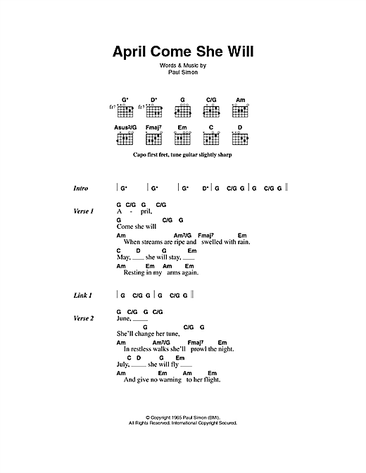 April Come She Will Sheet Music
