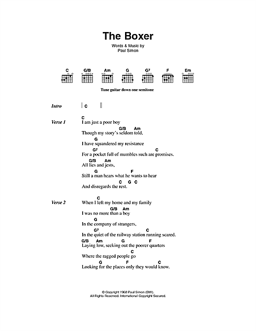 The Boxer sheet music by Simon & Garfunkel (Lyrics & Chords – 49885)