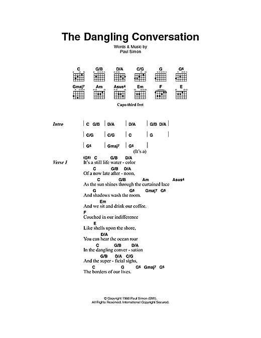The Dangling Conversation Sheet Music