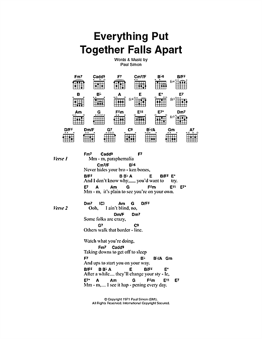 Everything Put Together Falls Apart Sheet Music