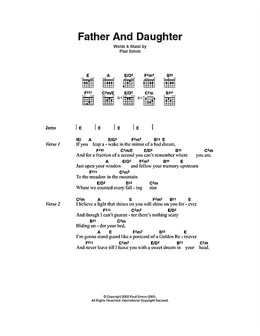 Father And Daughter Sheet Music