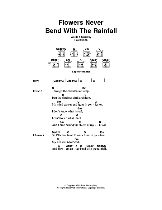 Flowers Never Bend With The Rainfall Sheet Music