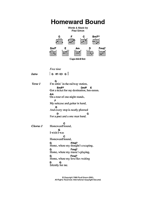 Homeward Bound (Guitar Chords/Lyrics)