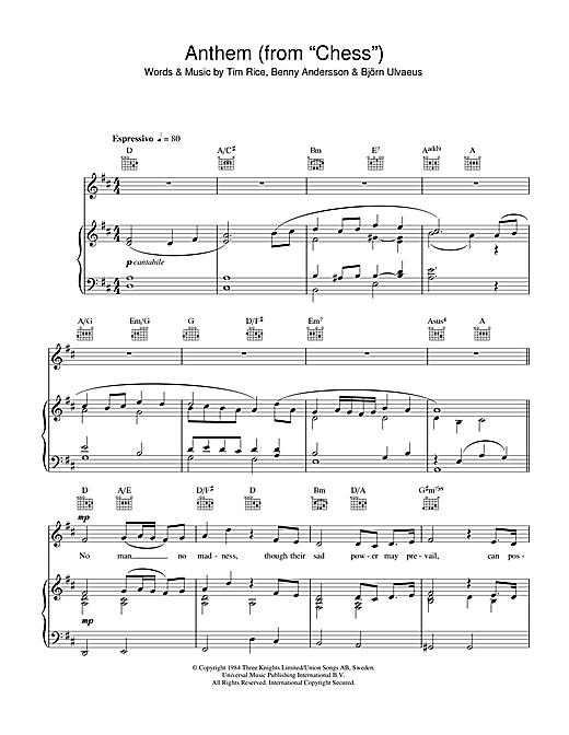 Anthem (from Chess) (Piano, Vocal & Guitar (Right-Hand Melody))
