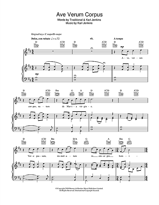 Ave Verum Corpus (Piano, Vocal & Guitar (Right-Hand Melody))