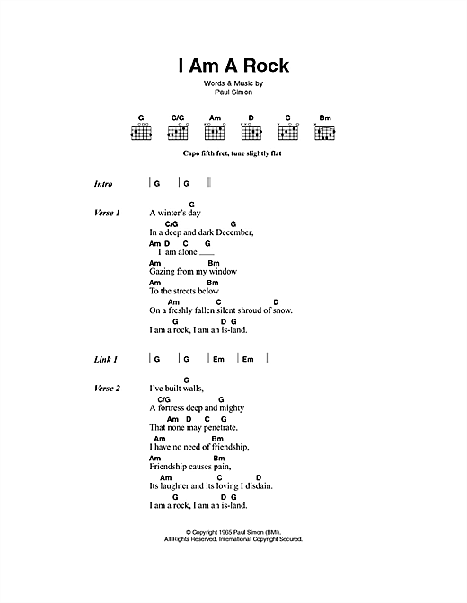 I Am A Rock (Guitar Chords/Lyrics)