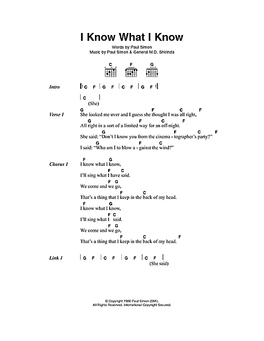 I Know What I Know sheet music by Paul Simon (Lyrics & Chords – 100015)