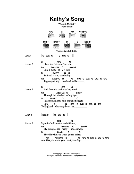 Kathy's Song (Guitar Chords/Lyrics)