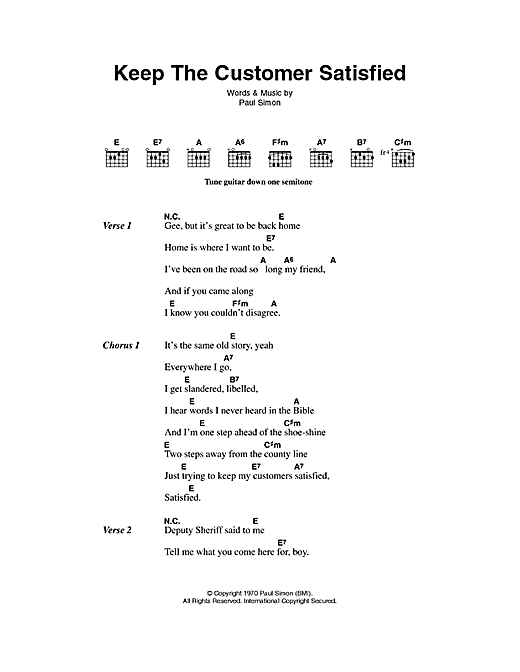 Keep The Customer Satisfied Sheet Music