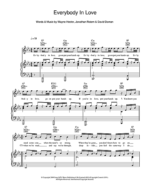 Everybody In Love (Piano, Vocal & Guitar (Right-Hand Melody))