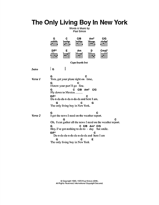 The Only Living Boy In New York (Guitar Chords/Lyrics)