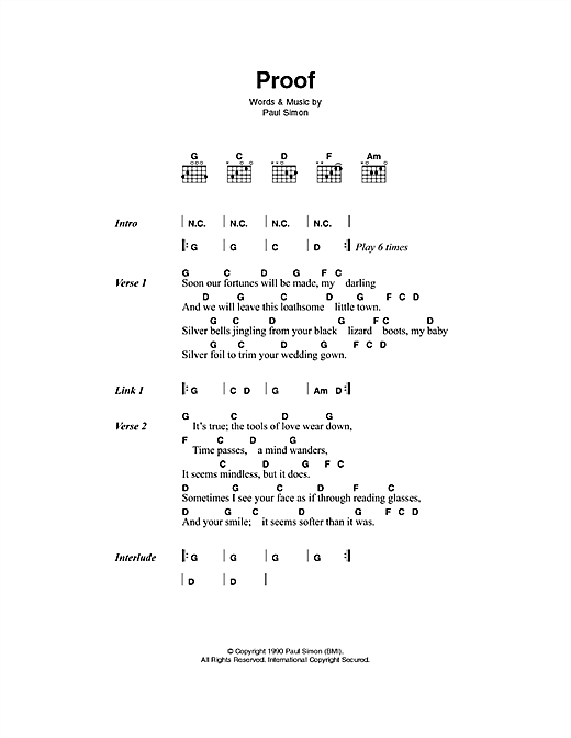 Proof Sheet Music