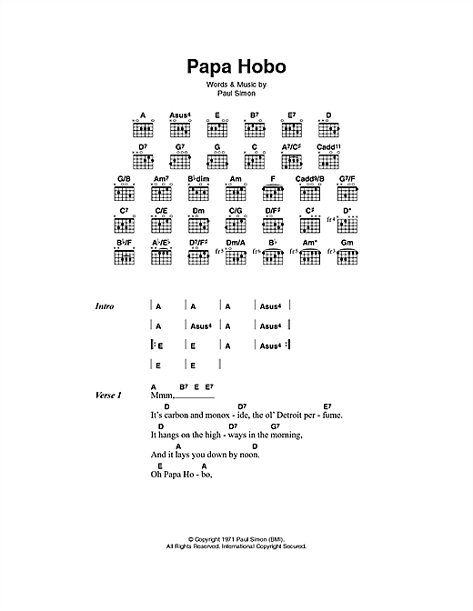 Papa Hobo (Guitar Chords/Lyrics)