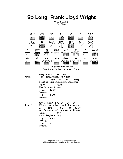 So Long, Frank Lloyd Wright (Guitar Chords/Lyrics)