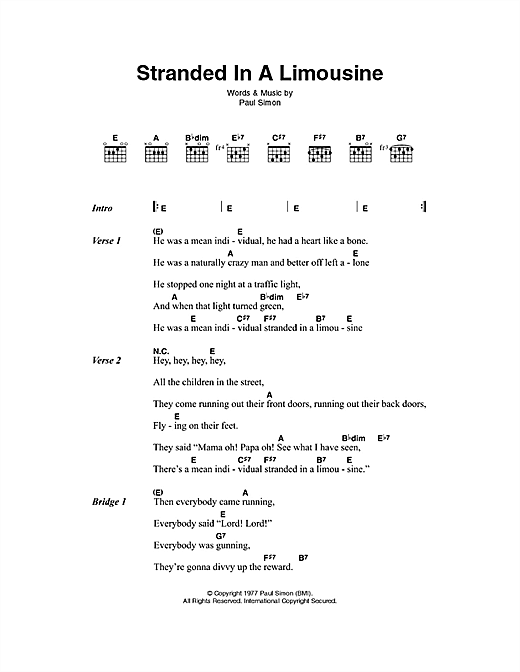 Stranded In A Limousine Sheet Music