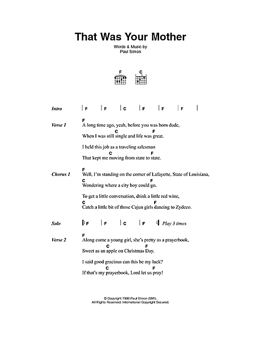 That Was Your Mother Sheet Music