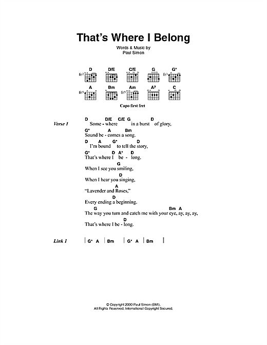 That's Where I Belong Sheet Music