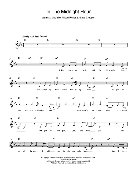 In The Midnight Hour (Lead Sheet / Fake Book)