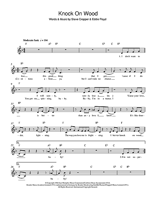 Knock On Wood Sheet Music