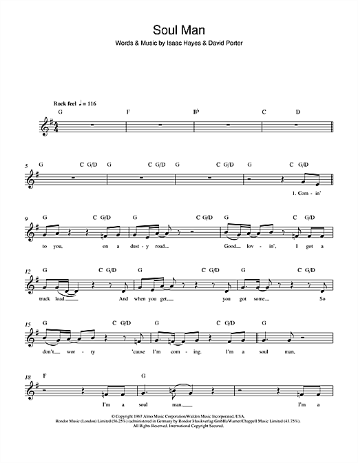 Soul Man chords by Sam u0026 Dave (Melody Line, Lyrics u0026 Chords u2013 100067)