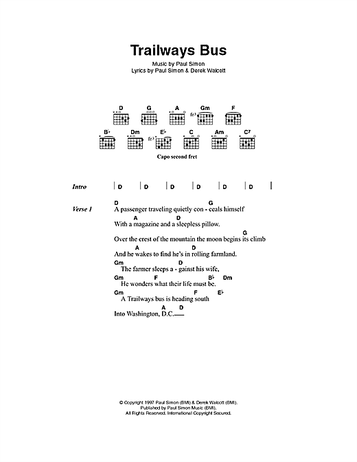Trailways Bus Sheet Music