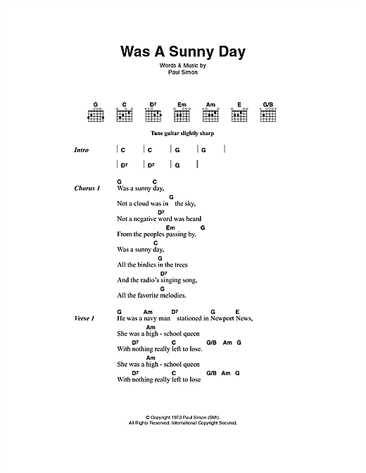 Was A Sunny Day Sheet Music