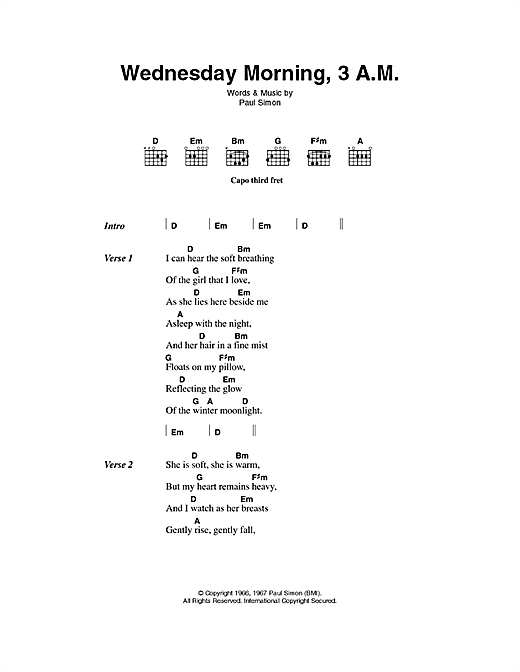 Wednesday Morning, 3 A.M. Sheet Music