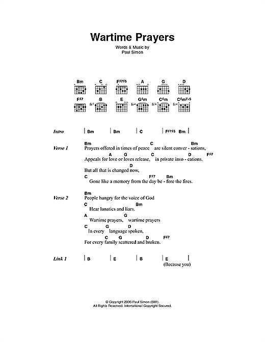 Wartime Prayers Sheet Music
