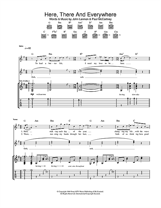 Tablature guitare Here, There And Everywhere de The Beatles - Tablature Guitare