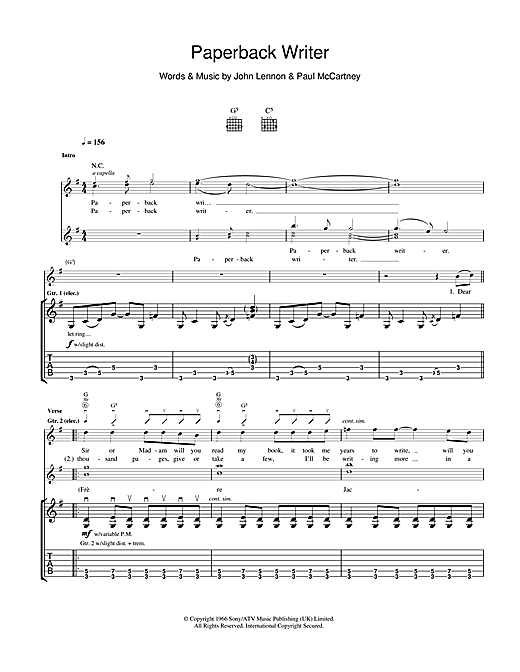 Tablature guitare Paperback Writer de The Beatles - Tablature Guitare