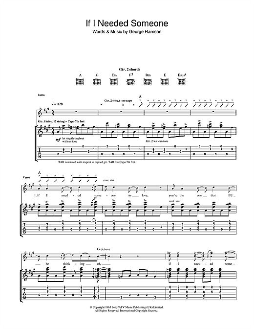 Tablature guitare If I Needed Someone de The Beatles - Tablature Guitare