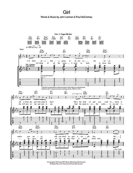 Tablature guitare Girl de The Beatles - Tablature Guitare