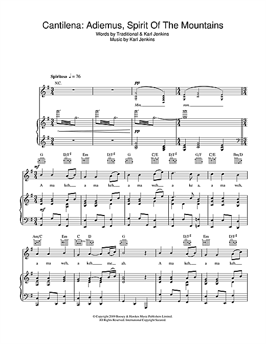 Cantilena: Adiemus, Spirit Of The Mountains (Piano, Vocal & Guitar (Right-Hand Melody))