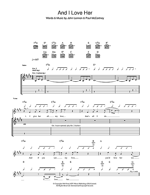 Tablature guitare And I Love Her de The Beatles - Tablature Guitare