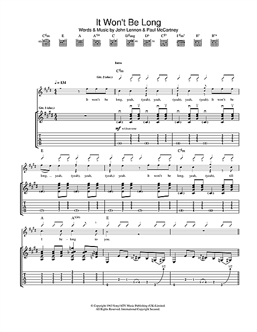 It Won't Be Long Sheet Music