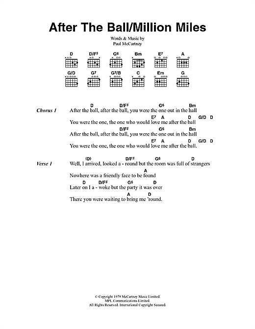 After The Ball/Million Miles (Guitar Chords/Lyrics)