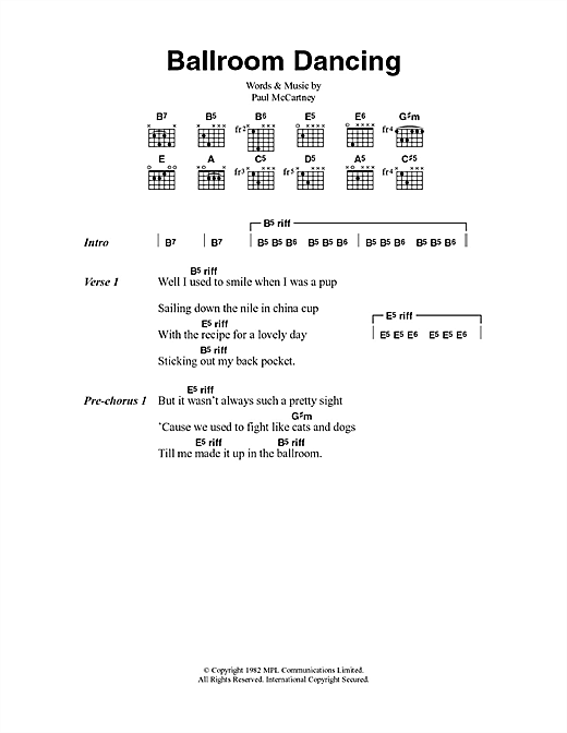 Ballroom Dancing (Guitar Chords/Lyrics)