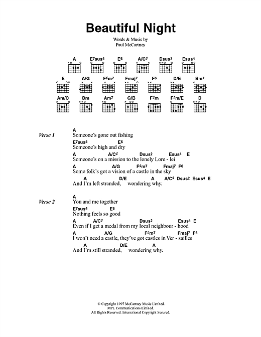 Beautiful Night (Guitar Chords/Lyrics)