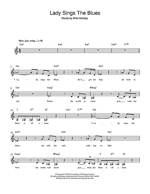 The Lady Sings The Blues (Lead Sheet / Fake Book)