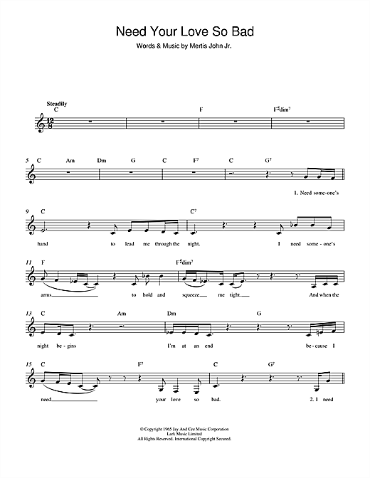 Need Your Love So Bad (Lead Sheet / Fake Book)