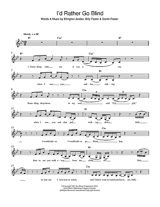 I'd Rather Go Blind (Lead Sheet / Fake Book)