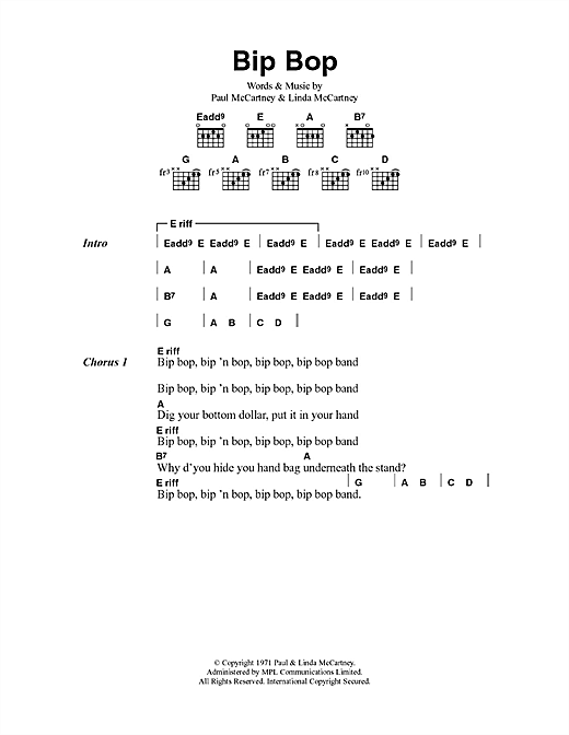 Bip Bop/Hey Diddle Sheet Music