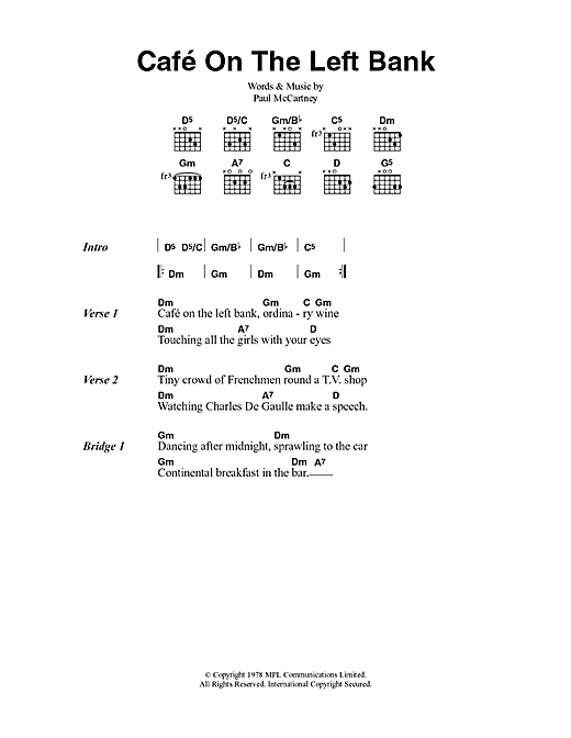 Cafe On The Left Bank Sheet Music