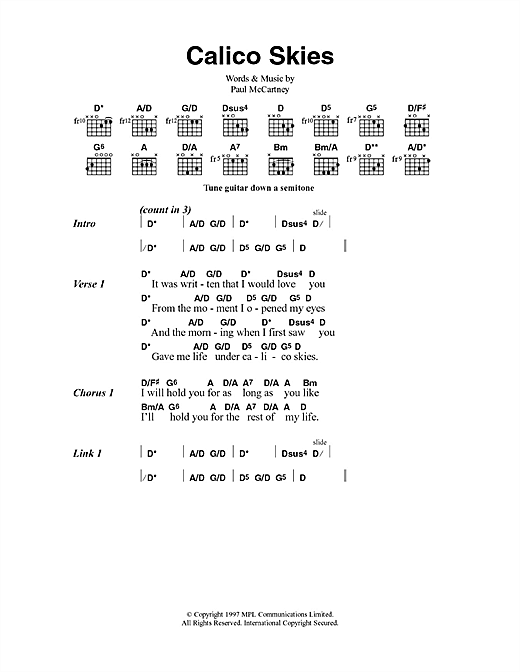 Calico Skies (Guitar Chords/Lyrics)