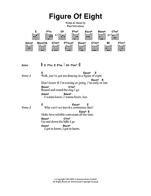 Figure Of Eight (Guitar Chords/Lyrics)