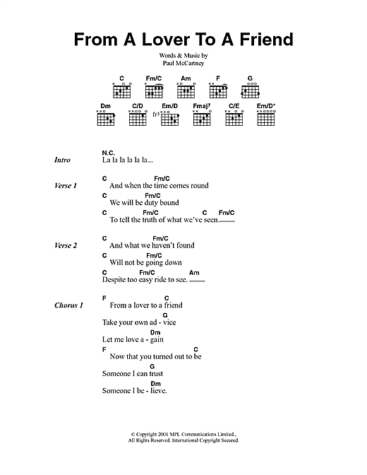 From A Lover To A Friend (Guitar Chords/Lyrics)