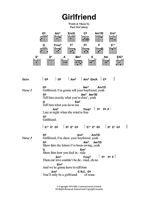 Girlfriend (Guitar Chords/Lyrics)