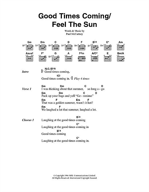 Good Times Coming/Feel The Sun Sheet Music