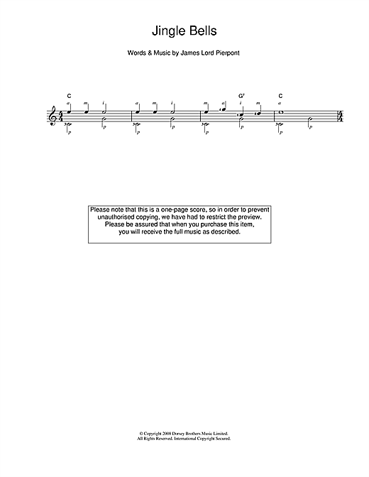Tablature guitare Jingle Bells de J. Pierpont - Guitare Classique
