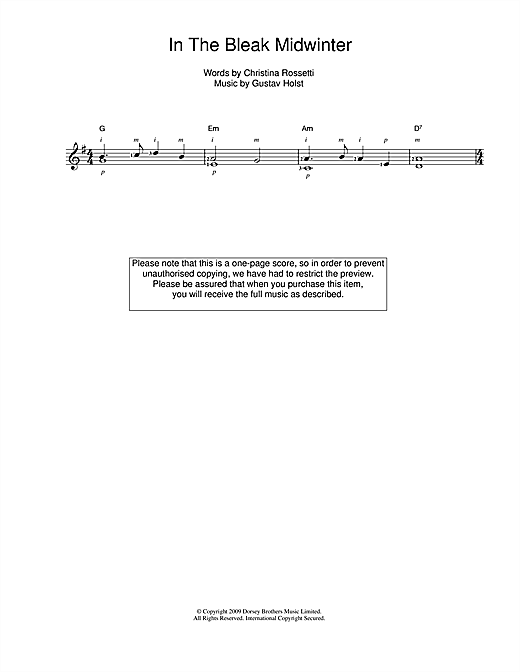 Tablature guitare In The Bleak Midwinter de Gustav Holst - Guitare Classique